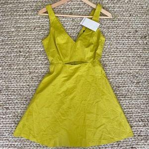 Zara Mustard Green Cutout Dress